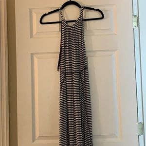 Black and white striped maxi dress (cotton)